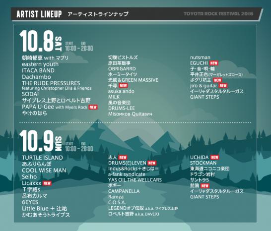 「TOYOTA ROCK FESTIVAL 2016」日割り